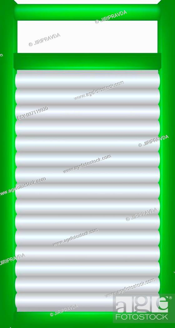 Vecteur de stock: Wooden washboard in green and silver design on white background.