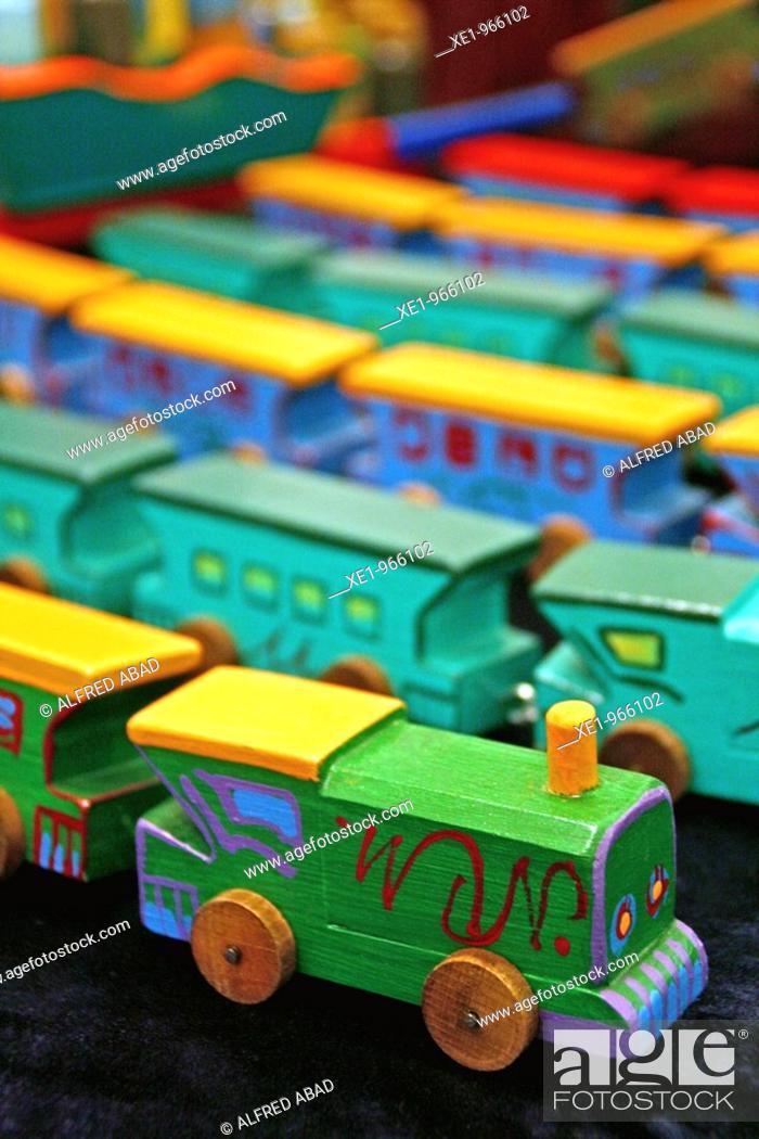 Stock Photo: Wooden trains, toys. Toy Fair '09, Tona, Catalonia, Spain.