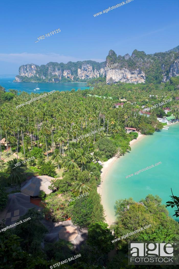 Stock Photo: View point to Hat Rai Leh West and Hat Rai Leh East, Krabi province, Thailand.