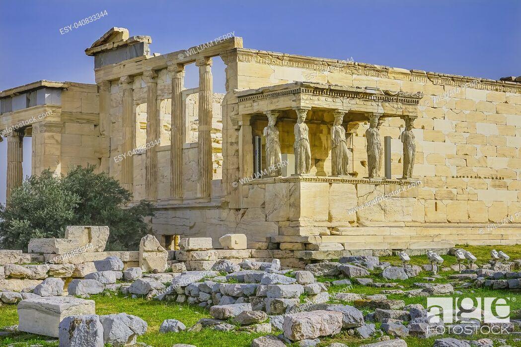 Stock Photo: Porch Caryatids Greek maidens Ruins Temple of Erechtheion Acropolis Athens Greece. Acropolis symbol of Athens.