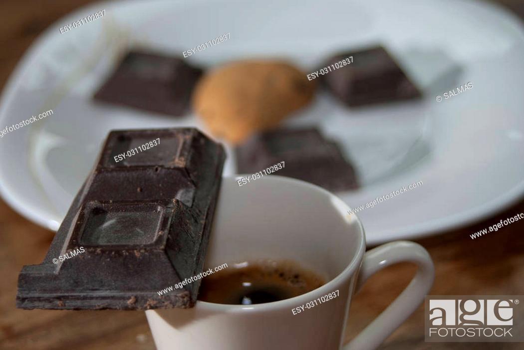 Stock Photo: plain chocolate and espresso coffee for an Italian breakfast.