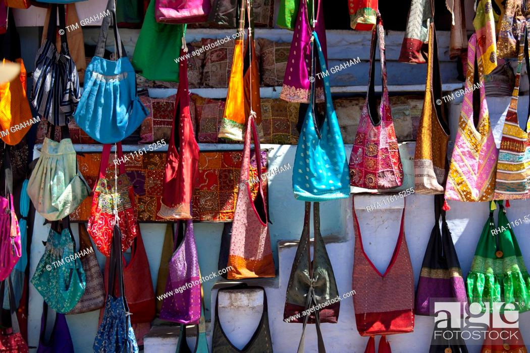 Stock Photo Woven Fabric Handbags On In Street Market City Palace Road Udaipur Rajasthan Western India