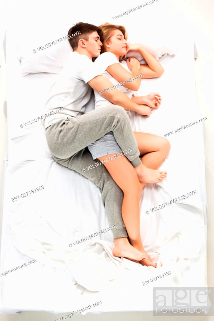 The Young Lovely Couple Lying In A White Bed Love Lconcept Top