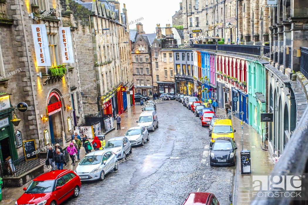 Stock Photo: Victoria Street, Old Town, Edinburgh, Scotland, United Kingdom, Europe.