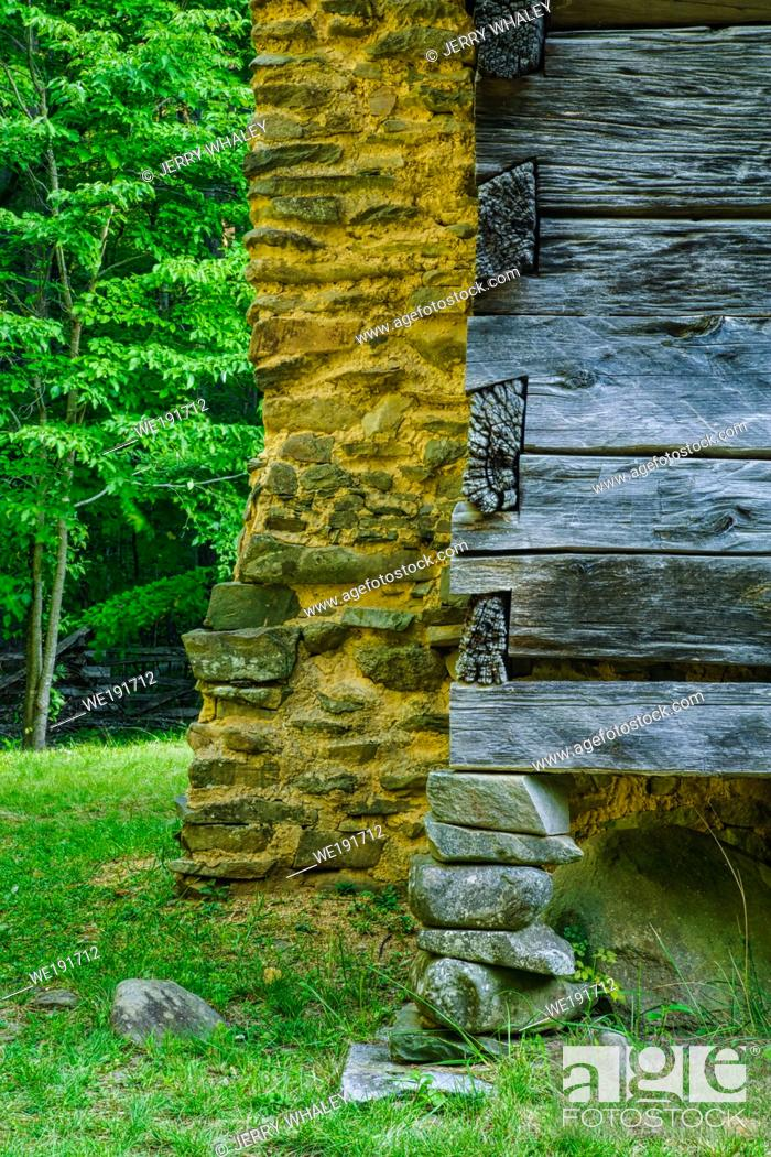 Stock Photo: Mud Chimney & Stacked Rock Foundation on the Motor Nature Trail in the Great Smoky Mountains National Park, TN.