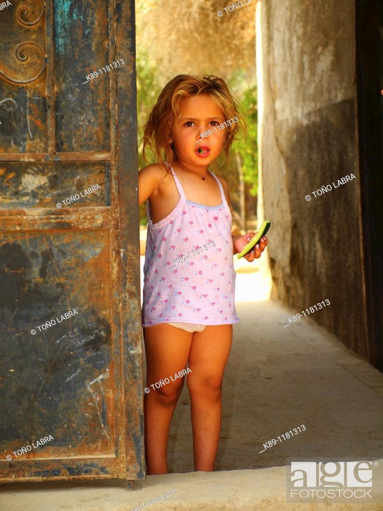 Stock Photo: Little Girl at Torab El Gafir, City of Dead, Cairo, Egypt.