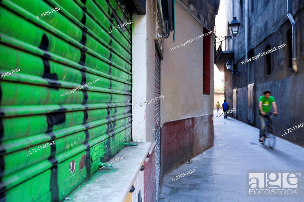 Stock Photo: El Raval neighborhood, Barcelona, Catalonia, Spain.