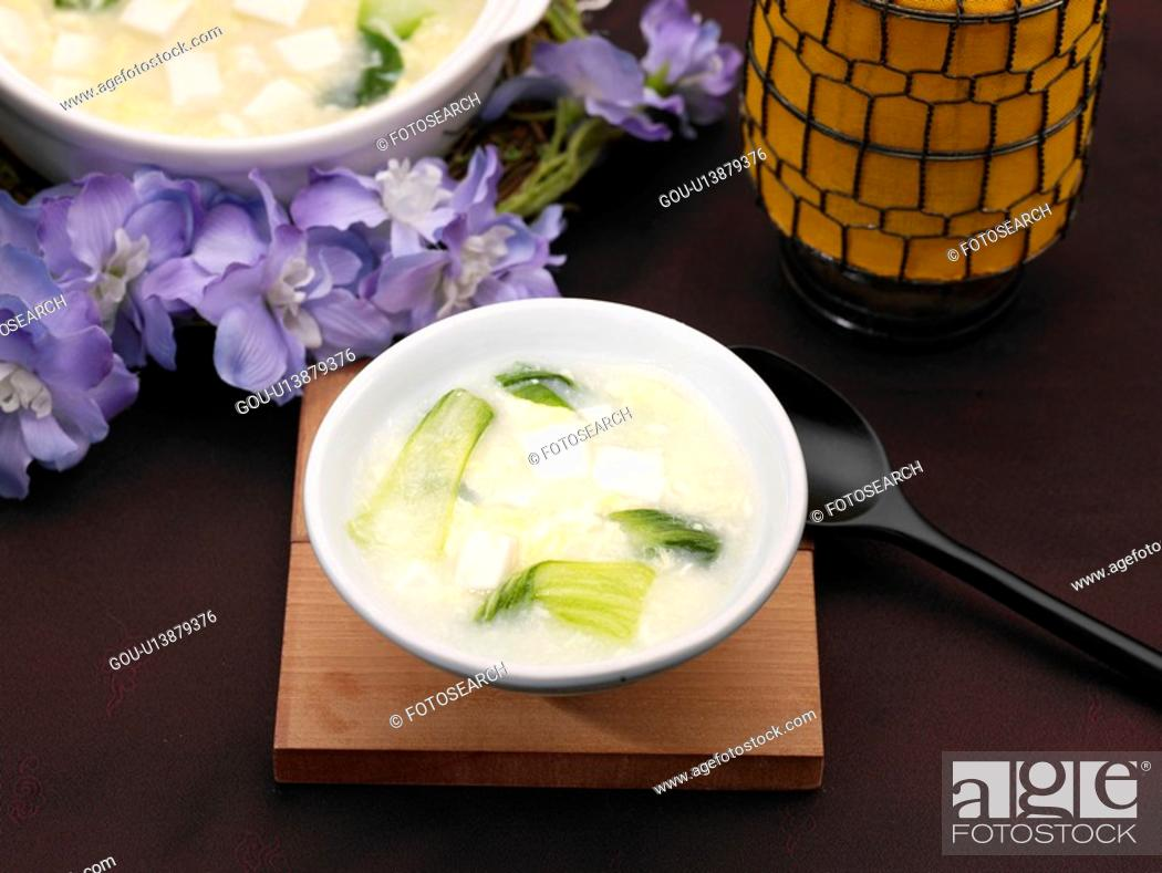 Stock Photo: table napkin, food styling, table mat, tableclothe, decoration, hot and sour soup.