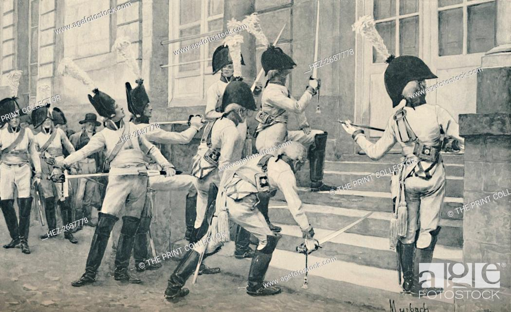 Stock Photo: 'The Prussian Noble Guard Sharpen Their Swords on the Steps of the French Embassy at Berlin', 1896. Artist: Unknown.