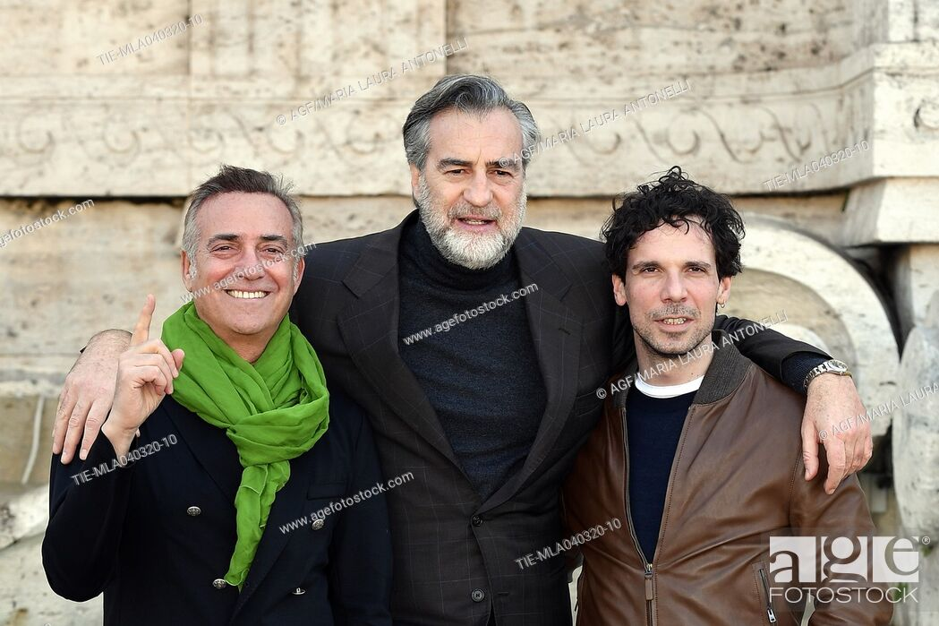 Stock Photo: Massimo Ghini, Max Tortora, Francesco Montanari during 'La volta buona' film photocall, Rome, 04/03/2020.