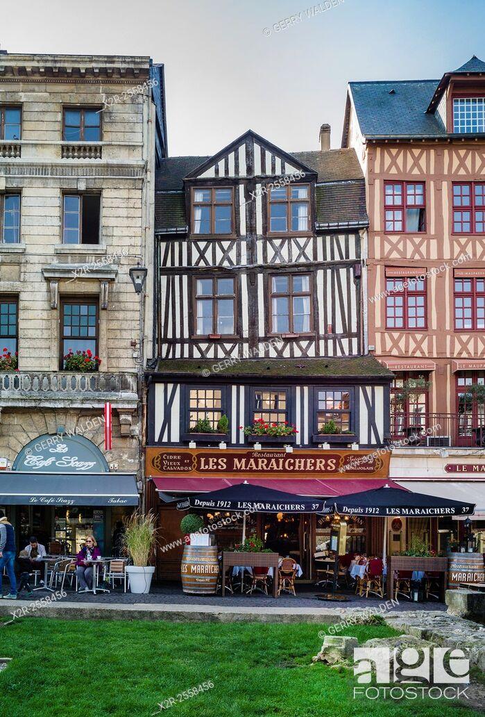 Stock Photo: Historic buildings line the historic Place du Vieux Marché in Rouen, France.