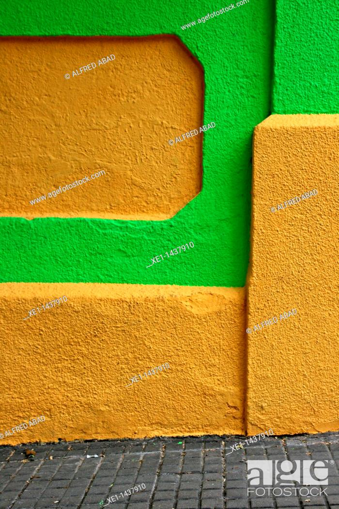 Stock Photo: painted wall, Guinardo quarter, Barcelona, ??Catalonia, Spain.