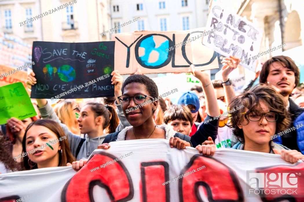 Stock Photo: March 10, 2019 - Turin, ITALY, Italy - Thousands of students marched in Turin, Italy, on March 15, 2019 during the FridaysForFuture event created by Swedish.