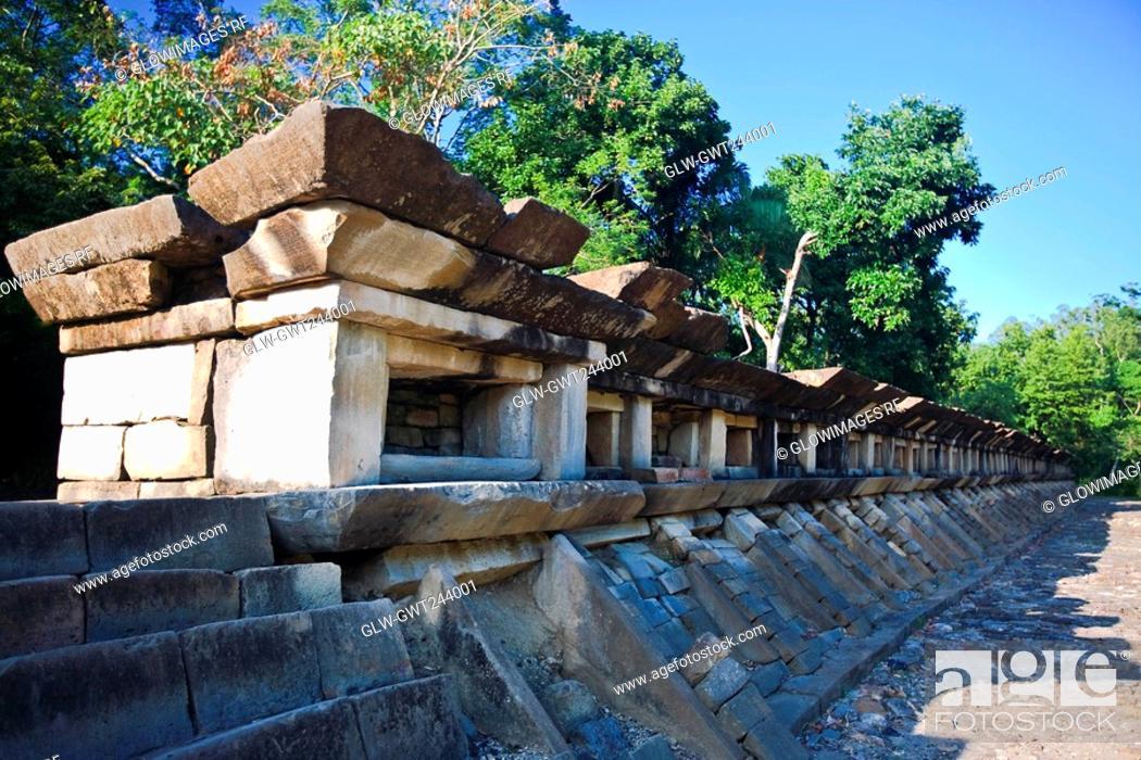 Stock Photo: Stone wall of an old ruin, El Tajin, Veracruz, Mexico.