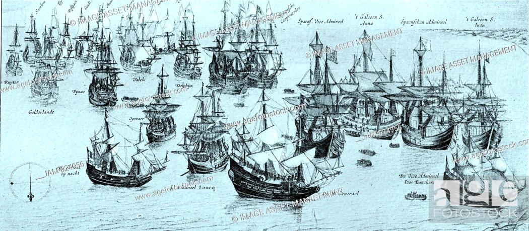 Stock Photo: The Conquest of the Silver Fleet. The 8th of September 1628. Despite the general perception that many Spanish galleons were captured by English or Dutch.