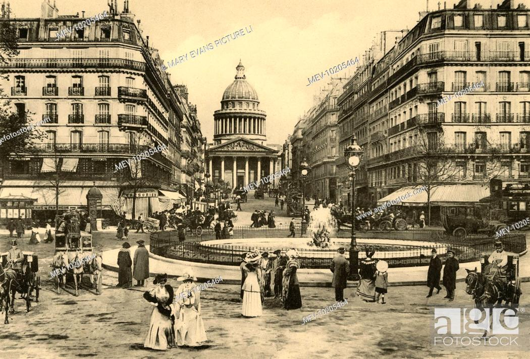 Stock Photo: The Pantheon, at the far end of the rue Soufflot, leading off the boulevard Saint- Michel : les jardins du Luxembourg are behind us.