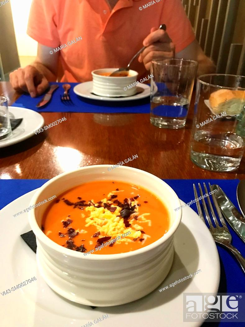 Stock Photo: Salmorejo serving. Cordoba, Spain.