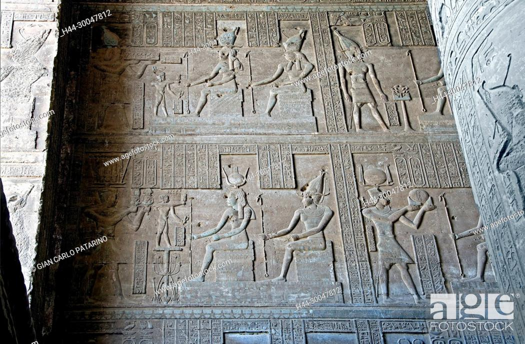 Stock Photo: Dendera Egypt, temple dedicated to the goddess Hathor. View of ceiling and columns.
