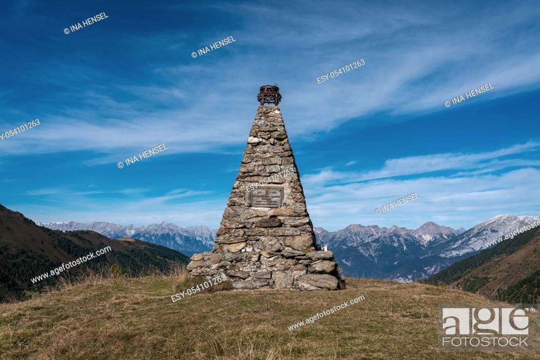 Stock Photo: Memorial for soldiers on austrian alpine mountain Sonntagskogel near Kemater Alm overlooking the valley to Innsbruck.