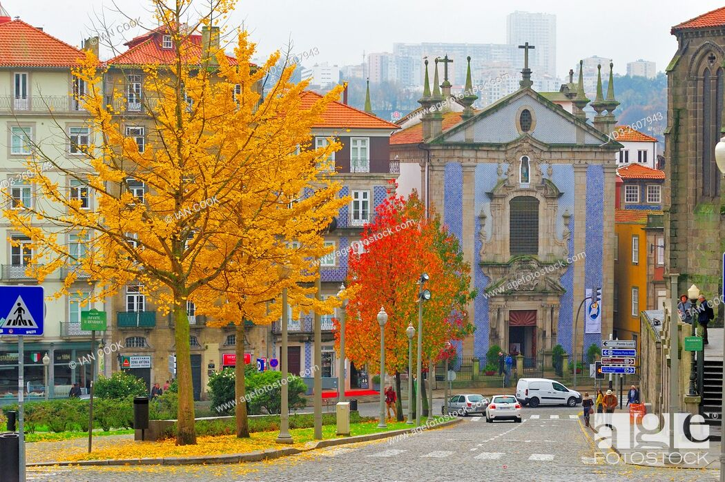 Stock Photo: view along Rua de Ferrira Borges to Igreja de Sao Nicolau, Porto, Portugal.