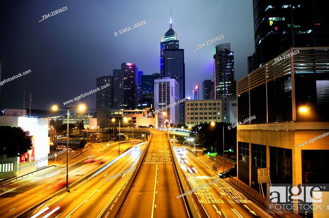 Stock Photo: Night traffic at Causeway Bay, Central, Hong Kong Island, Hong Kong, China, East Asia.