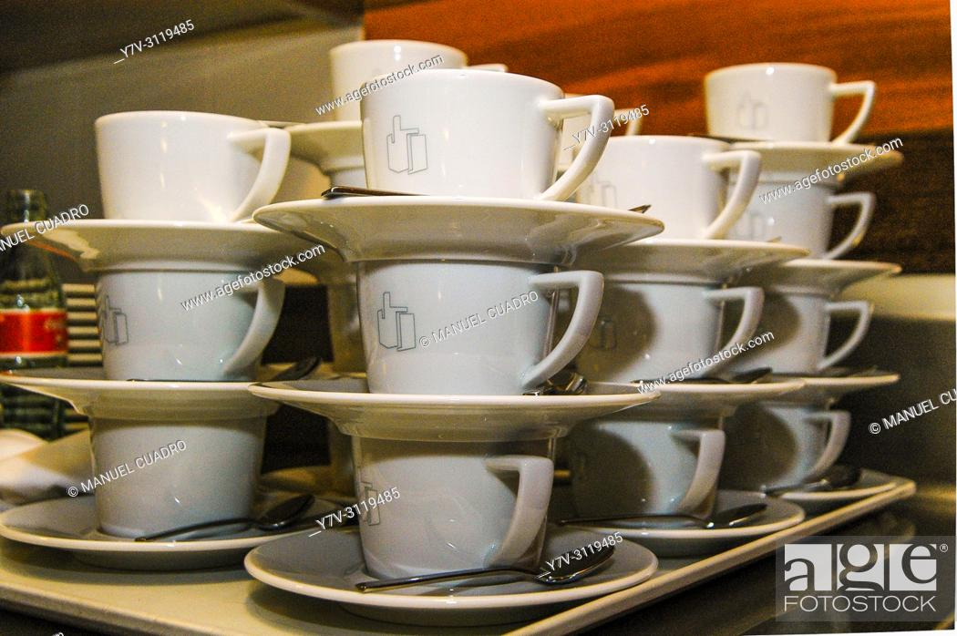Stock Photo: Crockery, cutlery and utensils ready to set restaurant tables.