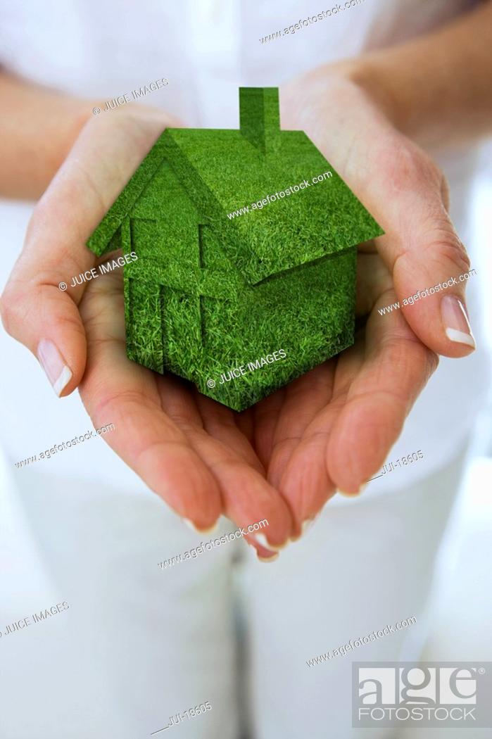 Stock Photo: Close up of womanÆs hands cupping miniature green house.