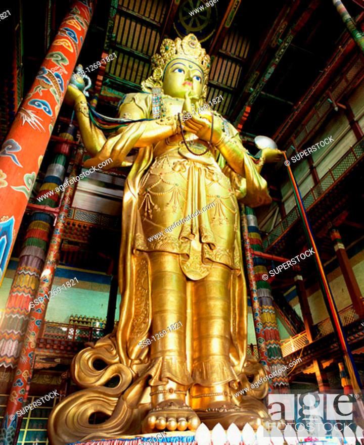 Stock Photo: Gandan Monastery Ulan Bator Mongolia.