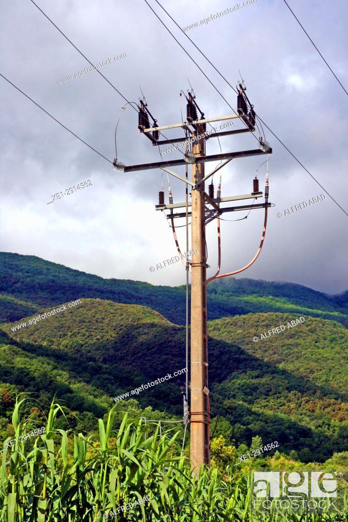 Stock Photo: Electric pole, Les Planes d'Hostoles, La Garrotxa, Catalonia, Spain.