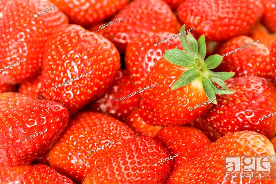 Stock Photo: Detail of strawberries.