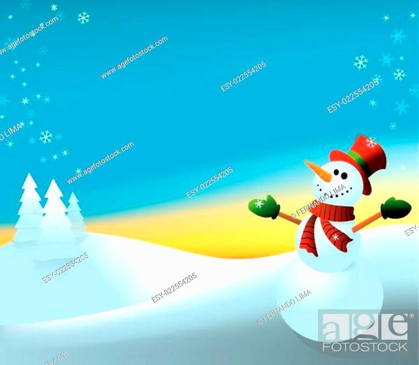 Stock Vector: Snowman - daytime background.