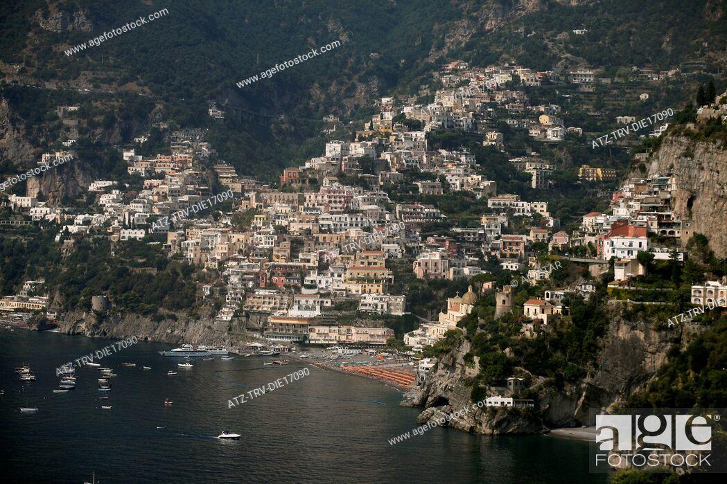 Stock Photo: POSITANO AND MEDITERRANEAN SEA FROM VIA ARIENZO; AMALFI DRIVE, SOUTHERN ITALY; 16/09/2011.