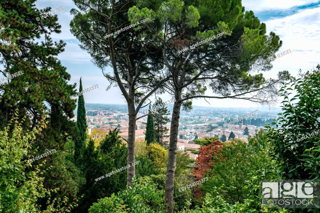 Stock Photo: Overlooking the old town of Vittorio Veneto from a hill top at Parco Papadopoli on a colourful autumn day.