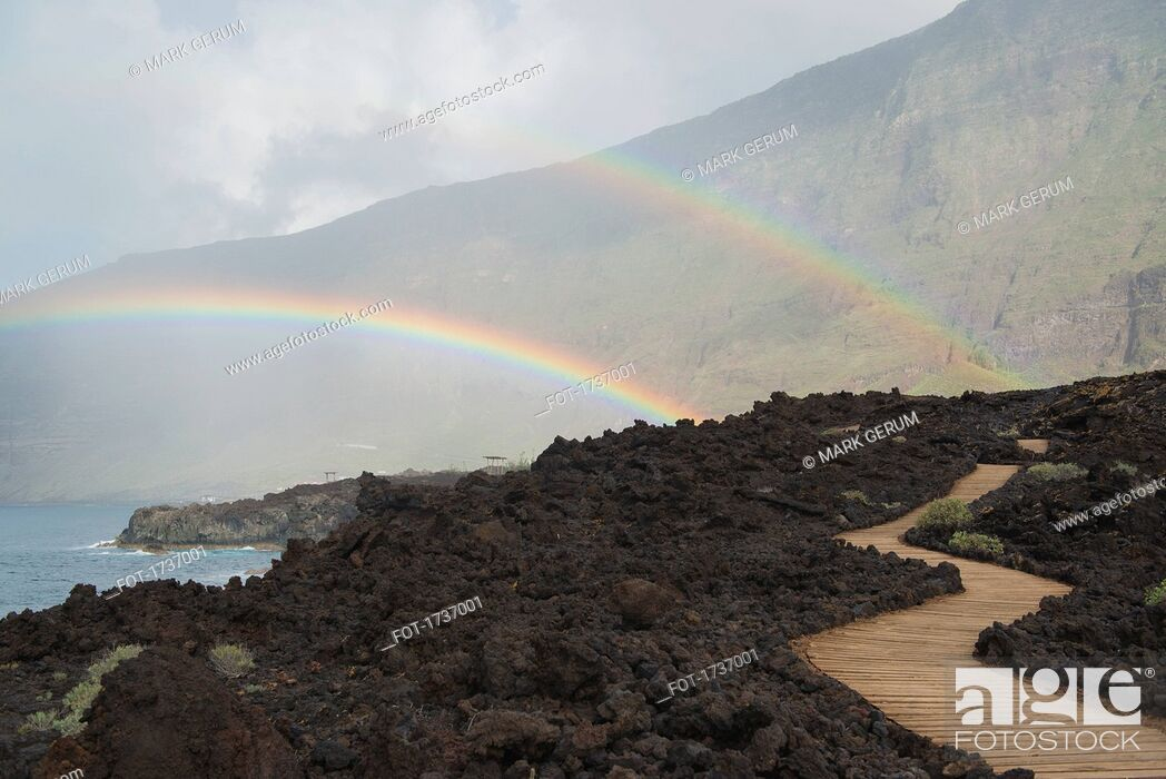 Stock Photo: Scenic view of double rainbow over mountains and sea, Frontera, Island El Hierro, Spain.