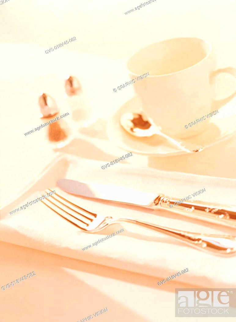 Imagen: Close Up of Knife Fork and Tea Cup and Saucer.