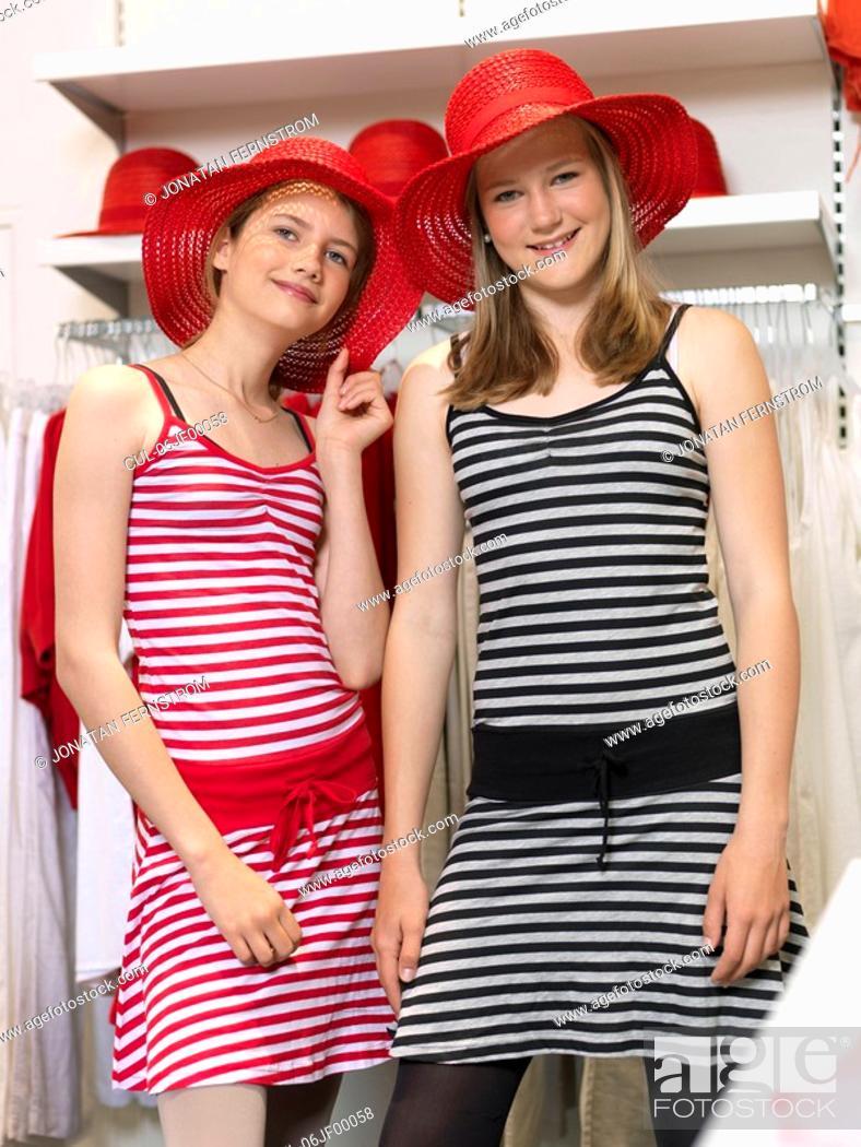 Stock Photo: Two girls shopping.