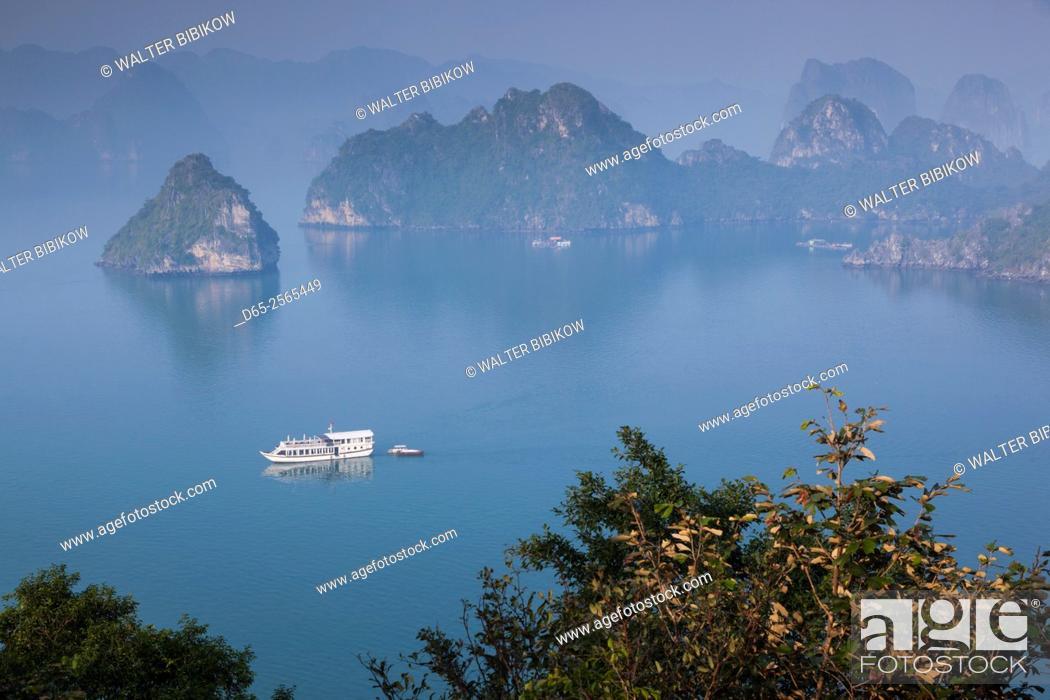 Stock Photo: Vietnam, Halong Bay, Tito Island, elevated view of Halong Bay.