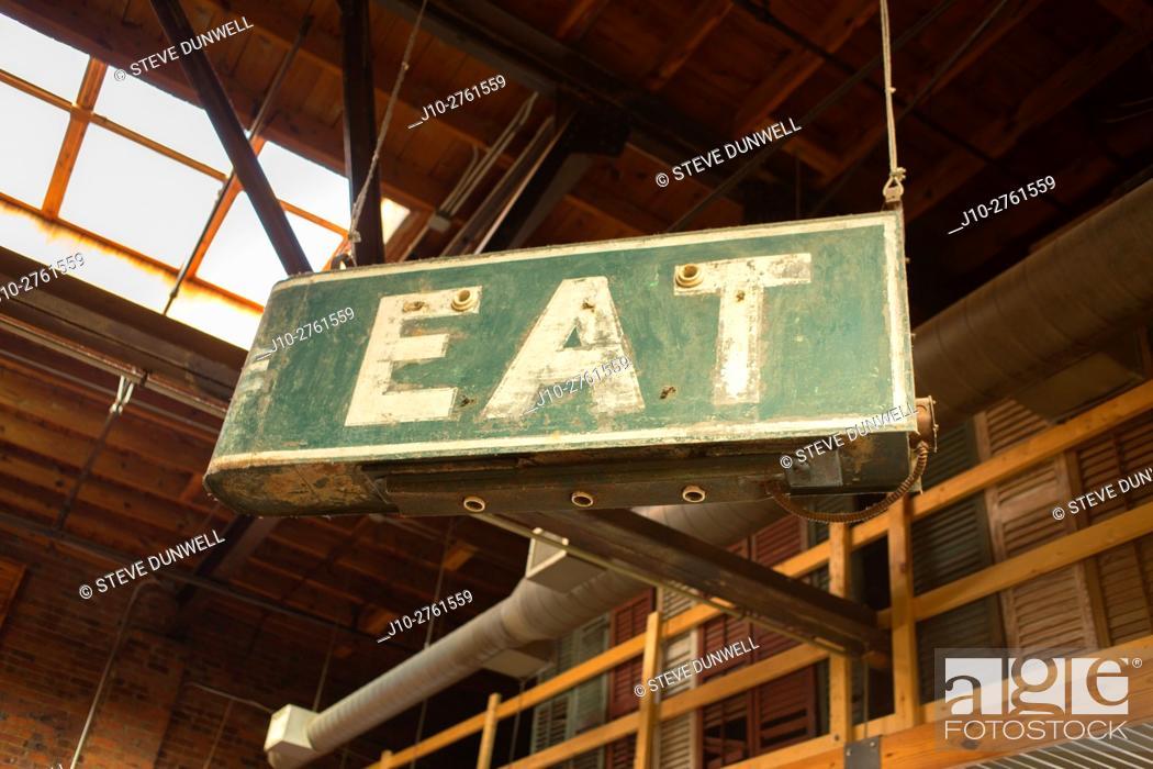 Stock Photo: Eat, antique sign, Durham, North Carolina, USA.