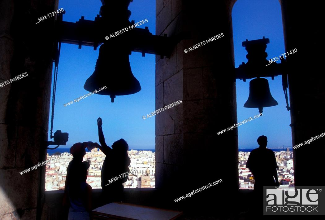 Stock Photo: View of the city from the Cathedral bell tower / CADIZ city / Cadiz province / Andalusia / Spain.