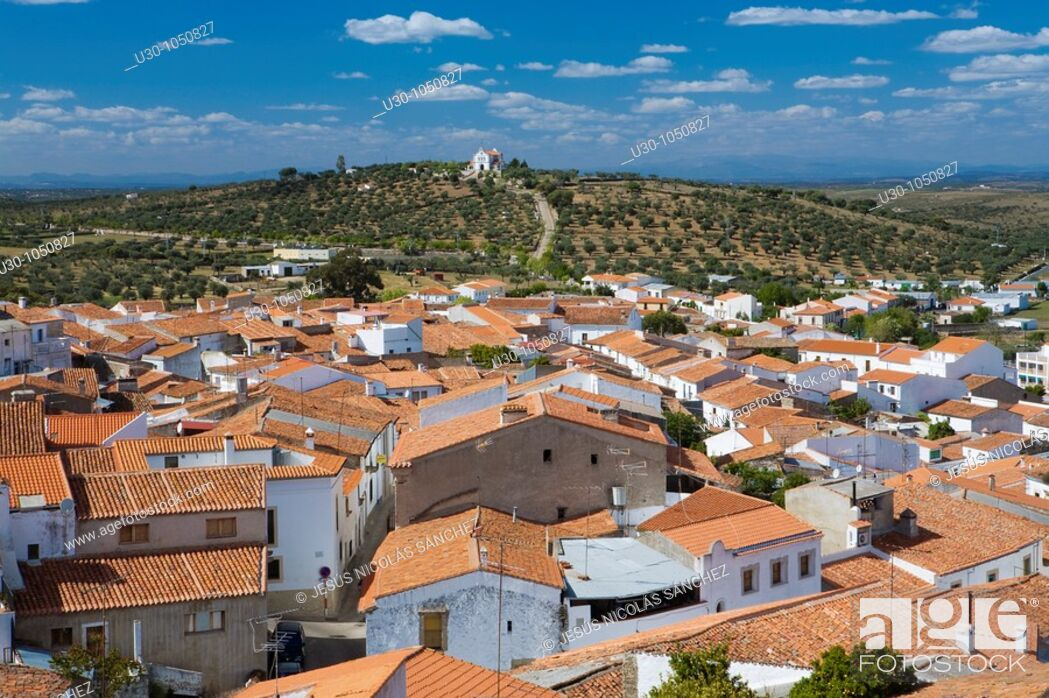 Stock Photo: Overview of Valencia de Alcántara from the castle  Cáceres province  Extremadura  Spain.