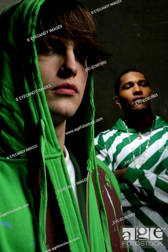 Stock Photo: Two young men looking at camera.