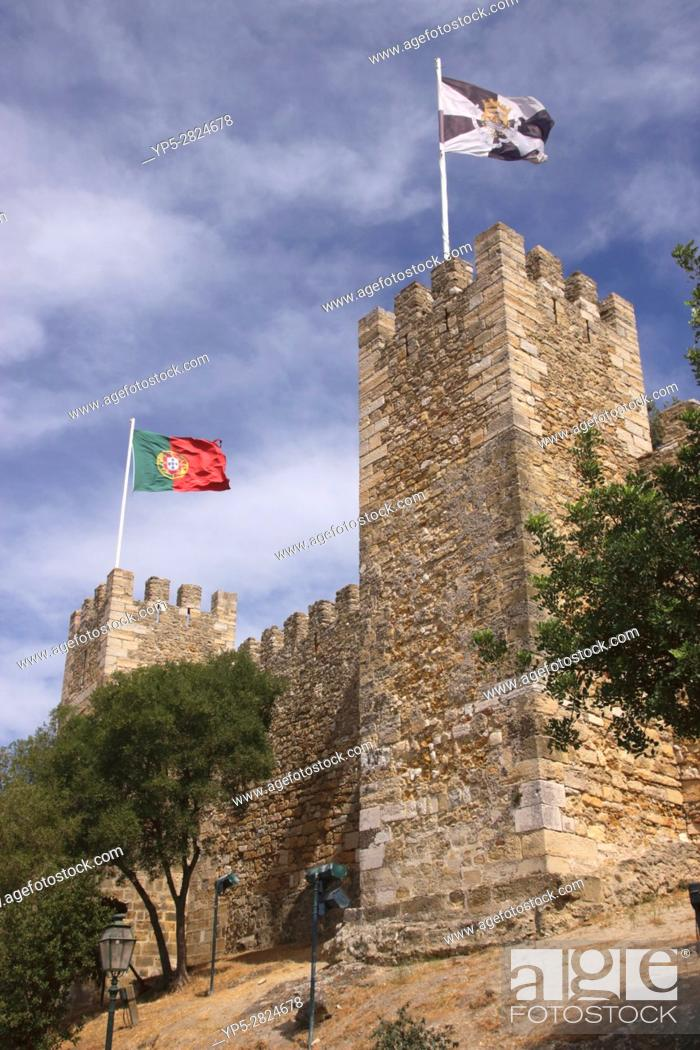 Stock Photo: Towers of Castelo de Sao Jorge Lisbon Portugal.