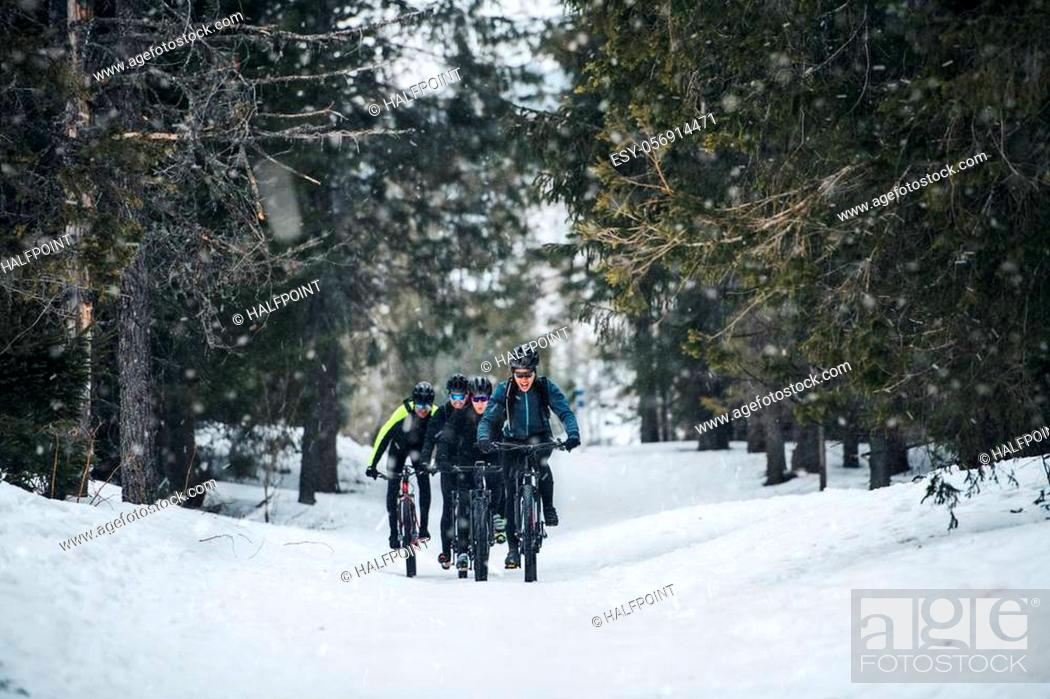 Stock Photo: A group of young mountain bikers riding on road outdoors in winter.