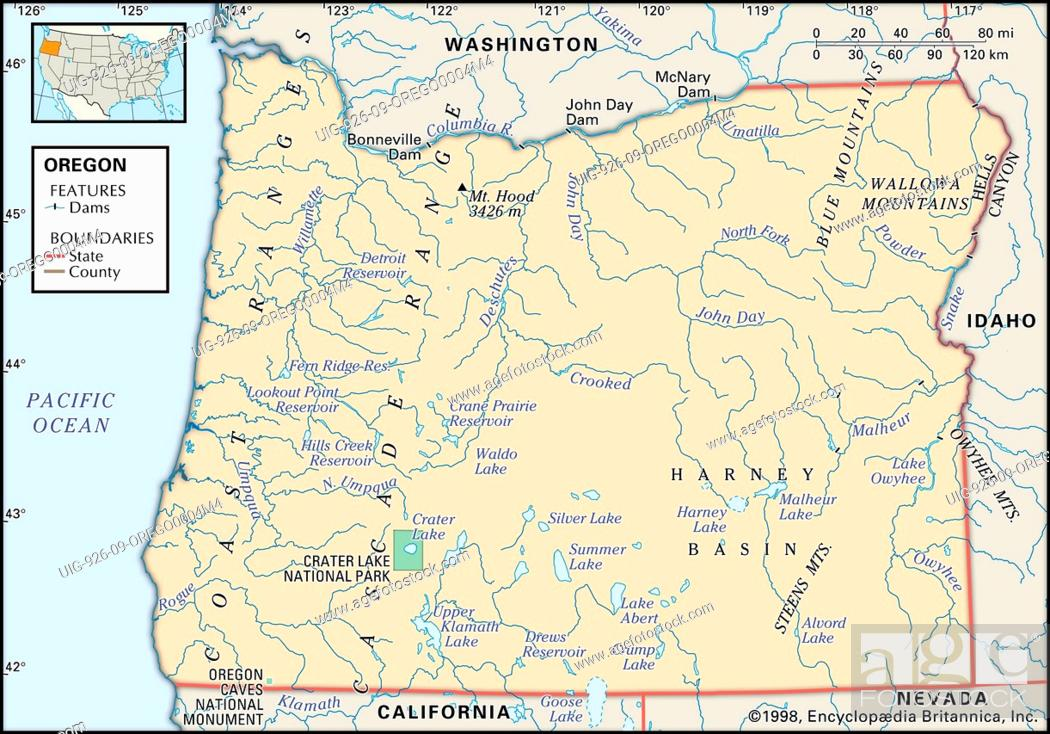 Physical Map Of The State Of Oregon Showing Lakes Mountains And