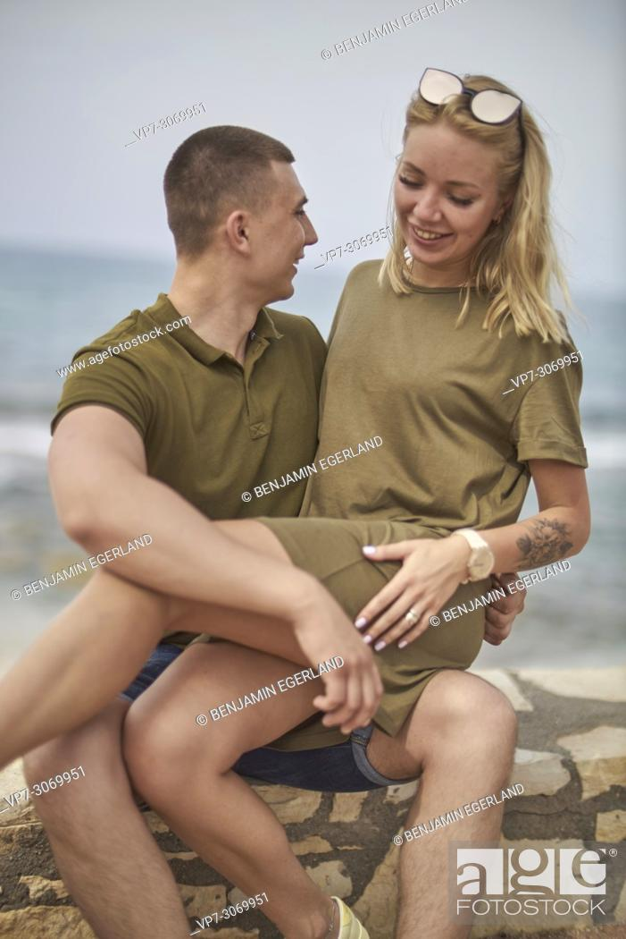Stock Photo: Happy young couple, Russian ethnicity, Hersonissos, Crete, Greece.