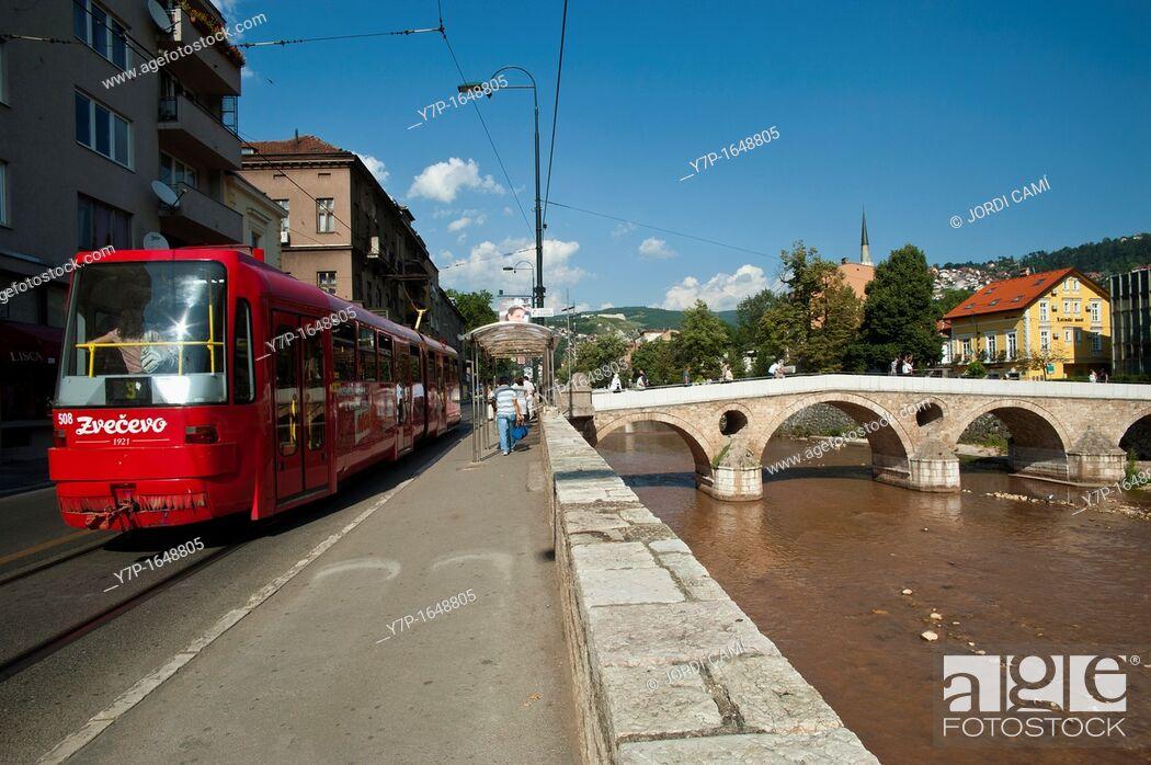 Stock Photo: Tram along Obala Kulina Bana street and Latin Bridge  Sarajevo Bosnia- Herzegovina  Balkans Europe.