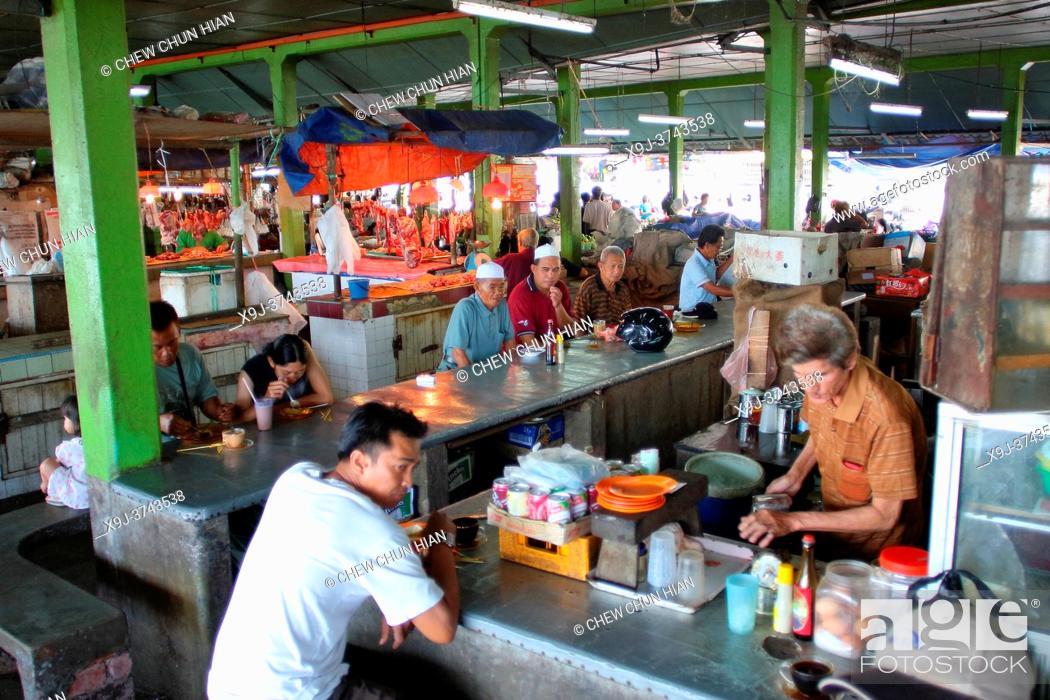 Stock Photo: Local market, Hawker stalls, Sarawak, Malaysia.