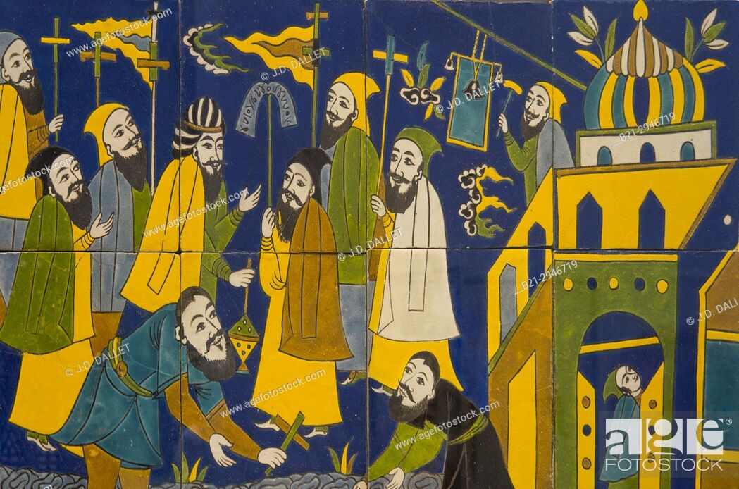 Stock Photo: France, Hauts de France. Pas de Calais. Louvre-Lens Museum: Wall panel. Procession of the Armenian community to Isfahan (Ceramic decorated with black lines and.