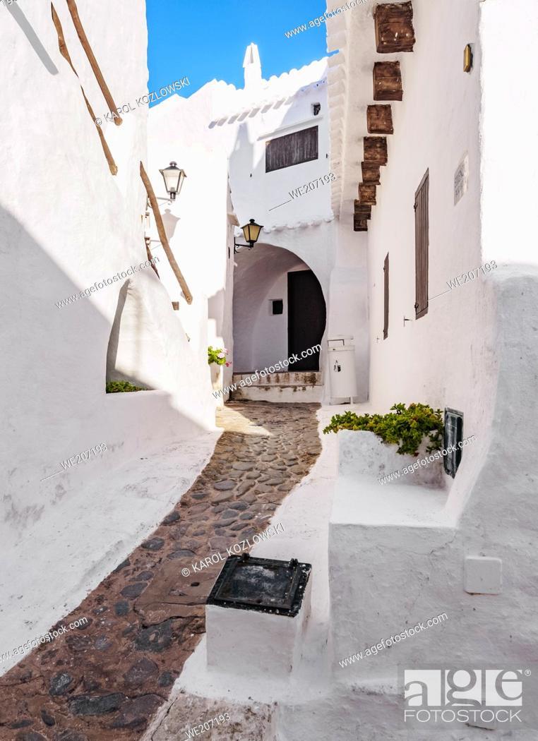 Stock Photo: Whitewashed houses in Binibeca Vell, Menorca or Minorca, Balearic Islands, Spain.