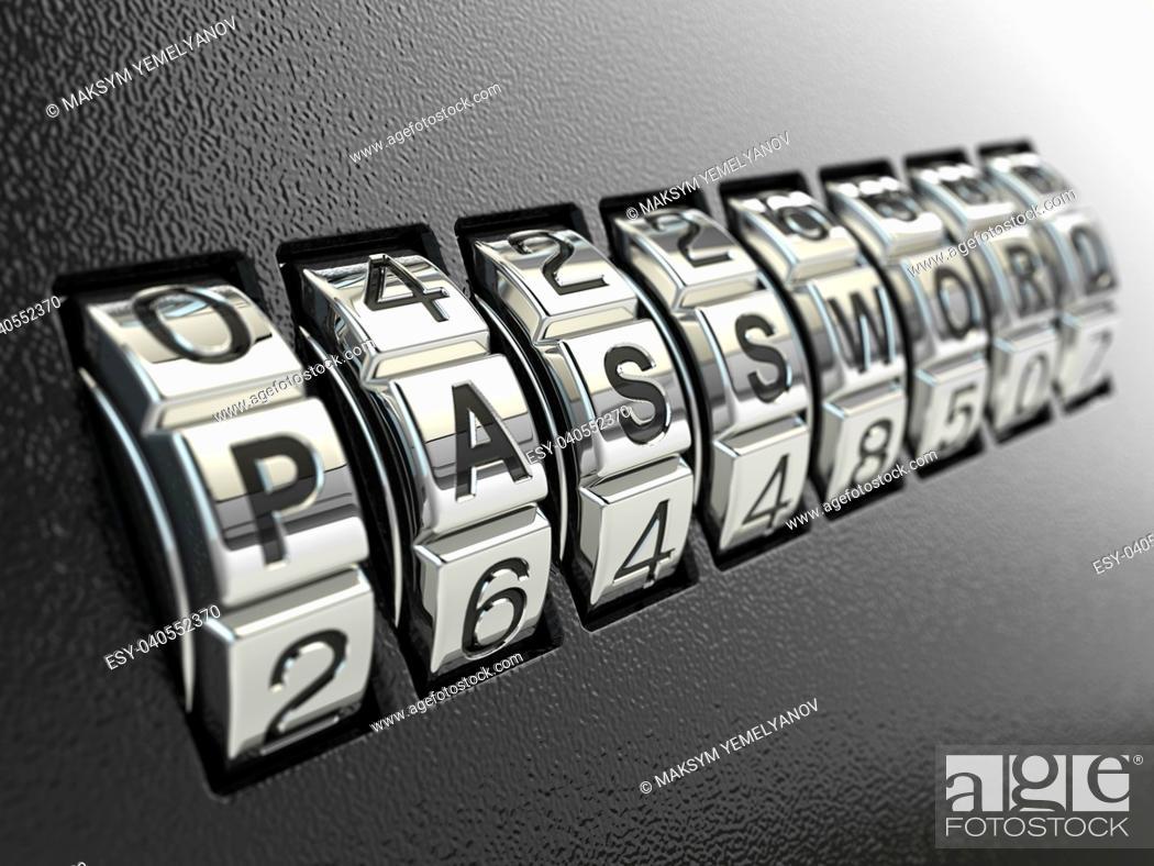 Photo de stock: Security password combination concept, Three-dimensional image. 3d.